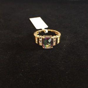 Gold Plating Mystic Topaz & Wht Sapphire Ring Sz 7